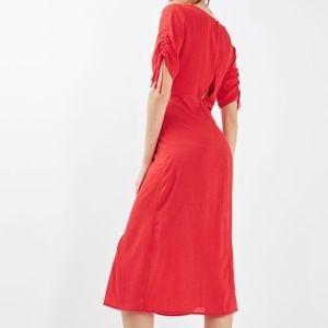 TOPSHOP Red, Polka-Dot Dress